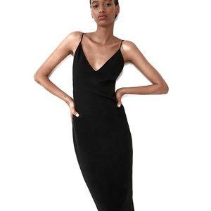 Zara Black Midi Slip Dress